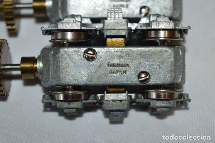 Trenes Escala: TENSHODO / H0 - Lote 3 BOGIES - Muy ANTIGUOS / Vintage - Todo metálico - ¡Muy buen estado, mira! - Foto 8 - 193674526