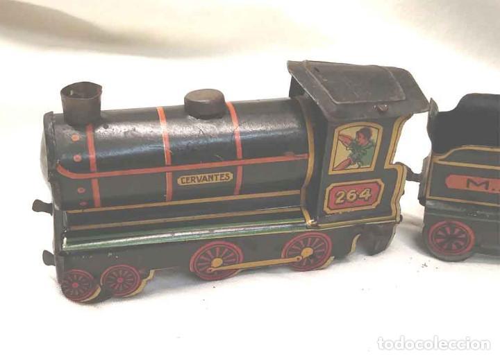 Trenes Escala: Locomotora Tren 264 Cervantes hojalata litografiada años 50 - Foto 2 - 197958233