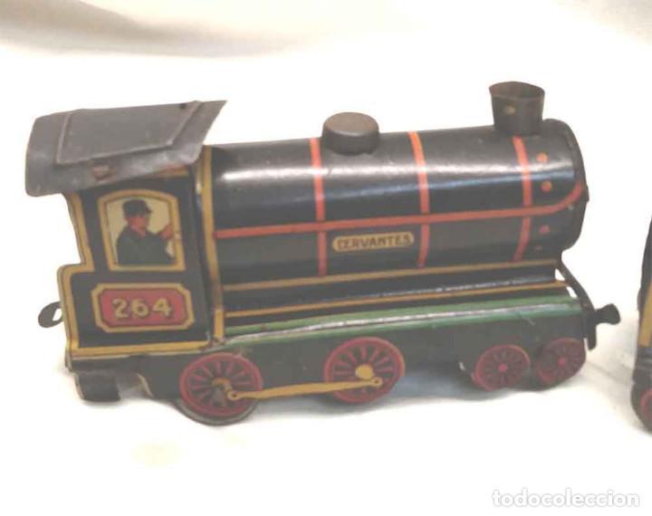 Trenes Escala: Locomotora Tren 264 Cervantes hojalata litografiada años 50 - Foto 7 - 197958233