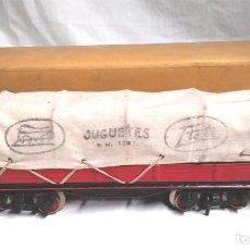 Trenes Escala: VAGÓN CONTOLDO DE PAYÁ 4 EJES ESCALA 0 AÑOS 40, NO JUGADO CON CAJA. MED. 29 CM. Lote 197958537