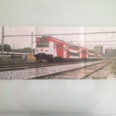 Trenes Escala: POSTER TREN , 59X21, UNIDAD UT 450 2N EN SANT ANDREU BARCELONA, HOBBYTREN. Lote 201306362