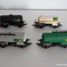 Trenes Escala: SET VAGONES CISTERNA BP LILIPUT. Lote 204672488