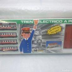 Trenes Escala: PEQUETREN TREN OLIMPICO ELECTRICO A PILAS, CON ESTACION QUE HABLA, PRECINTADO, NUEVO A ESTRENAR!!!. Lote 207752381