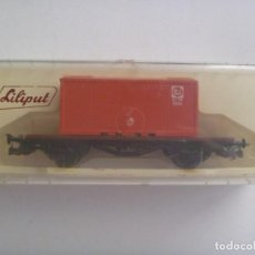 Trenes Escala: VAGON DE TREN CON CONTENEDOR, DE LILIPUT ( AUSTRIA ) . NO SE LA ESCALA, MIDE 12 CM DE LARGO. EN CAJA. Lote 210305702