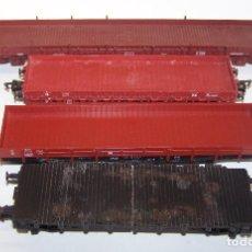 Trenes Escala: LOTE VAGONES PLATAFORMA Y BORDE BAJO H0 1/87 CON FALTAS.. Lote 213978045