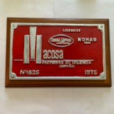 Trenes Escala: RENFE PLACA ORIGINAL MACOSA GENERAL MOTORS. Lote 214018741