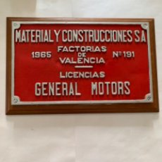 Trenes Escala: RENFE PLACA ORIGINAL MATERIAL Y CONSTRUCCIONES S.A GENERAL MOTORS. Lote 214037982