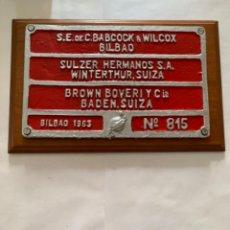 Trenes Escala: RENFE PLACA ORIGINAL LOCOMOTORA. Lote 214038903