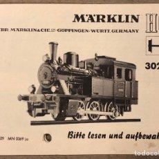 Trenes Escala: MARKLIN HO 3029. INSTRUCCIONES ORIGINALES LOCOMOTORA (1970).. Lote 216787636