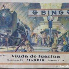 Trenes Escala: CATALOGO JUGUETES TRENES FERROCARRIL COCHES GRAMOFONOS MADRID VIUDA DE IGARTUA AÑOS 20-30 MUY RARO. Lote 216985036