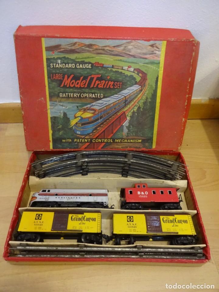 ANTIGUA CAJA SET MODEL TRAIN. MADE IN JAPAN. AÑOS 1960S (Juguetes - Trenes - Varios)