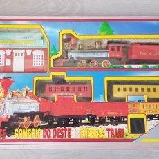 Trenes Escala: ANTIGUO TREN DE JUGUETE CON SONIDO. TREN DEL OESTE. EXPRESS TRAIN. EN BUEN ESTADO Y FUNCIONANDO. Lote 222029928
