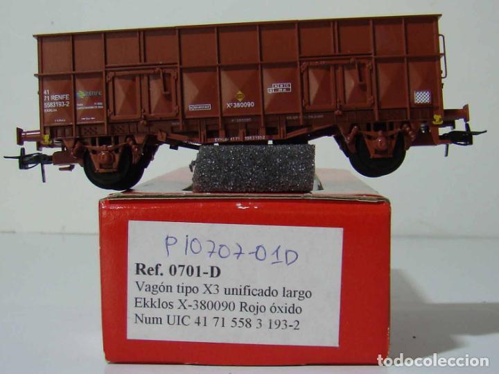 KTRAIN VAGON X3 UNIFICADO LARGO REF: 0701-D ESCALA H0 ROJO OXIDO (Juguetes - Trenes Escala H0 - Otros Trenes Escala H0)
