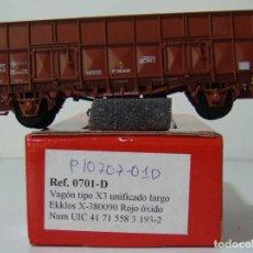 Trenes Escala: KTRAIN VAGON X3 UNIFICADO LARGO REF: 0701-D ESCALA H0 ROJO OXIDO. Lote 222688898