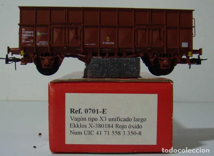 KTRAIN VAGON X3 UNIFICADO LARGO REF: 0701-E ESCALA H0 ROJO OXIDO (Juguetes - Trenes Escala H0 - Otros Trenes Escala H0)