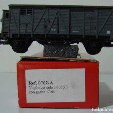 Trenes Escala: KTRAIN VAGON CERRADO CON GARITA RN REF: 0702-A ESCALA H0 GRIS. Lote 222689360