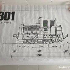 Trenes Escala: TREN, PLANO LOCOMOTORA RENFE 301 A ESCAL DE 5 PULGADAS. Lote 224162105
