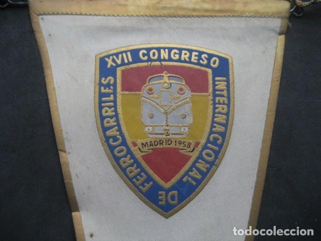 Trenes Escala: ANTIGUO BANDERIN XVII CONGRESO INTERNACIONAL DE FERROCARRILES. AICCF MADRID 1958 - Foto 3 - 231333520
