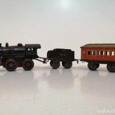 Trains Échelle: LOCOMOTORA A CUERDA IVES Nº 5, CON TENDER, VAGÓN Y VIAS. Lote 233382275