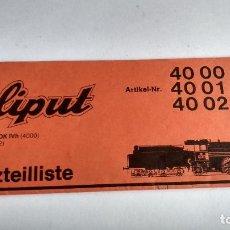 Trenes Escala: LILIPUT INSTRUCCIONES LOCOMOTORA VAPOR CON TENDER 40 00, 40 01, 40 02. Lote 236794605