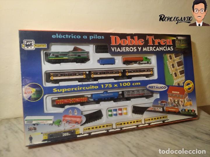 Trenes Escala: PEQUETREN DOBLE TREN VIAJEROS Y MERCANCIAS CON LUZ REF: 900 - TREN METÁLICO A PILAS (AÑOS 80) - Foto 31 - 237149755