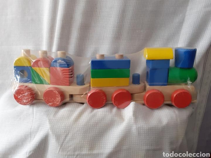 TREN MADERA PUZZLE ENCAJABLE GRANDE ENVIO INCLUIDO (Juguetes - Trenes - Varios)