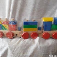 Trenes Escala: TREN MADERA PUZZLE ENCAJABLE GRANDE ENVIO INCLUIDO. Lote 238225770