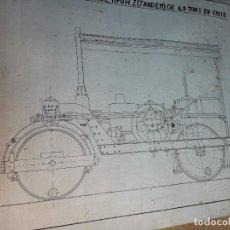 Trenes Escala: PLANO APISONADORA MOTOR DIESEL TIPO H.Z TANDEM 6,8 TN. FIRMADO S.PUBILL..ORIGINAL TINTA CHINA.REF-DC. Lote 240101825
