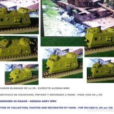 Trenes Escala: LOTE VAGON BLINDADO EJERCITO ALEMAN WWII - NAZI DE LAS SS - APTO PARA VIAS H0 Y OO - PINTADO A MANO. Lote 240517230