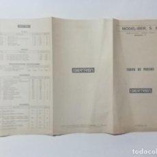 Trenes Escala: IBERTREN : TRÍPTICO CON TARIFA DE PRECIOS MODEL IBER S. A. - AÑO 1972 -(L). Lote 240605565