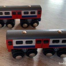 Trenes Escala: 2 VAGONES DE TREN O FERROCARRIL DE MADERA Y METAL.. Lote 244501250