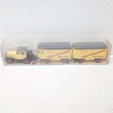 Trenes Escala: JIFFY VENDE CONJUNTO WIKING 1:87 DE CABEZA TRACTORA HANOMAG Y DOS REMOLQUES TRANSPORTE MUEBLES 27851. Lote 246341665