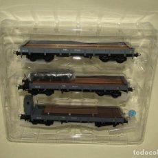 Trenes Escala: CONJUNTO DE 3 VAGONES BORDE BAJO SERIE MM EN ESCALA *H0* DE MABAR. Lote 256051270