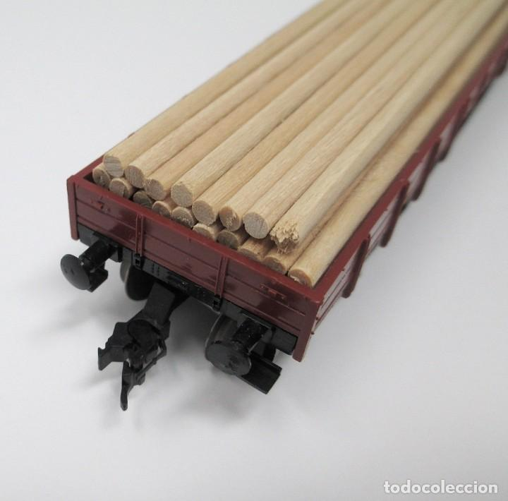 Trenes Escala: Vagón de Mercancías Fleischmann con carga de madera hecha de forma artesanal - H0 - Foto 3 - 269738553