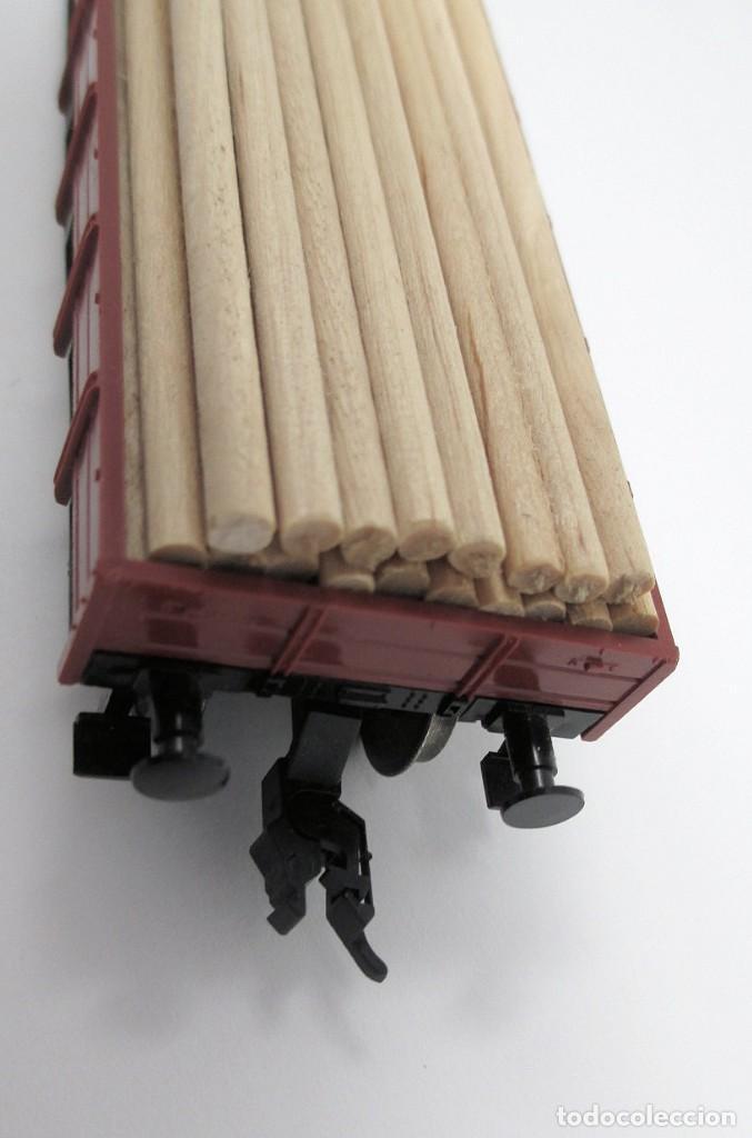 Trenes Escala: Vagón de Mercancías Fleischmann con carga de madera hecha de forma artesanal - H0 - Foto 4 - 269738553