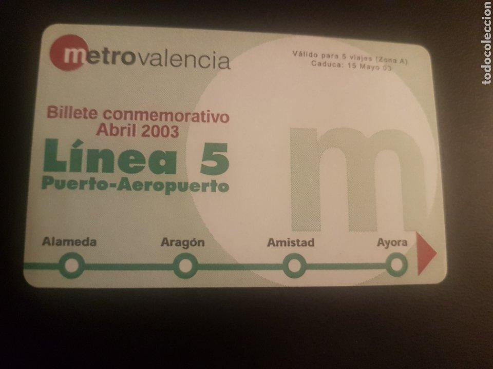 METRO VALENCIA. BILLETE CONMEMORATIVO LÍNEA 5 (Juguetes - Trenes - Varios)