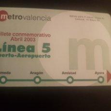 Trenes Escala: METRO VALENCIA. BILLETE CONMEMORATIVO LÍNEA 5. Lote 273736578