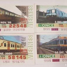 Trenes Escala: ONCE. CUATRO CUPONES UNIDAD TREN ELÉCTRICAS DE RENFE. Lote 288671558