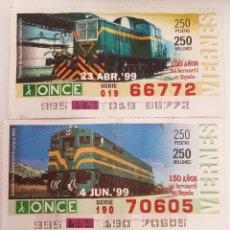 Trenes Escala: ONCE. TRES CUPONES LOCOMOTORAS DIESEL RENFE. Lote 288673733