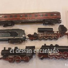 Trenes Escala: LOTE ESCALA HO. LOCOMOTORAS, (UNA DESGUACE), UN VAGÓN Y DOS ACCESORIOS. VER FOTOS. Lote 289340298