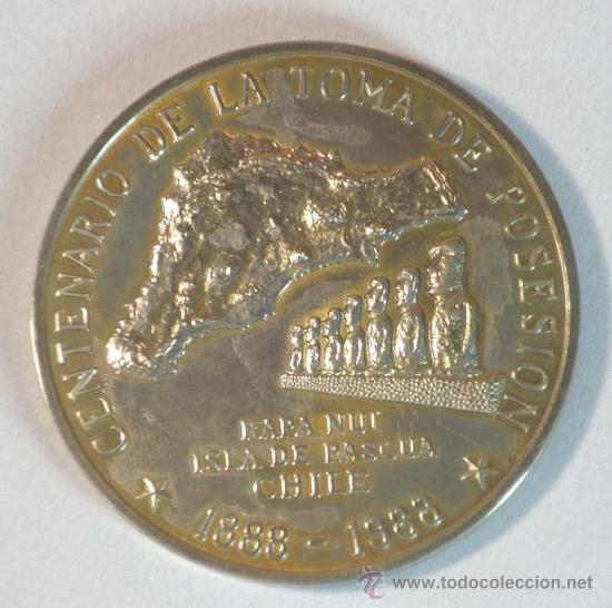 MEDALLA CENTENARIO ISLA PASCUA CHILE (Numismática - Medallería - Trofeos y Conmemorativas)