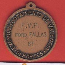 Trofeos y medallas: VALENCIA-TROFEO FALLAS 1987 F.V.P.EXMO.AYUNTAMIENTO DE VALENCIA-ESCUDO DE LA CIUDAD. Lote 17186055