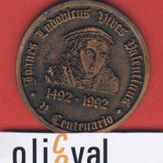 Trofeos y medallas: MEDALLA-V CENTENARIO DE LUIS VIVES-MEDALLA BRONCE-1492-1992-VALENCIA 1492-BRUGGE 1540-. Lote 19891297