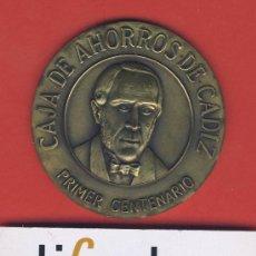 Trofeos y medallas: MEDALLA-BRONCE-CAJA DE AHORROS DE CADIZ-PRIMER CENTENARIO.-60 MM.-78 GR.ESTUCHE ORIGINAL. Lote 19402237