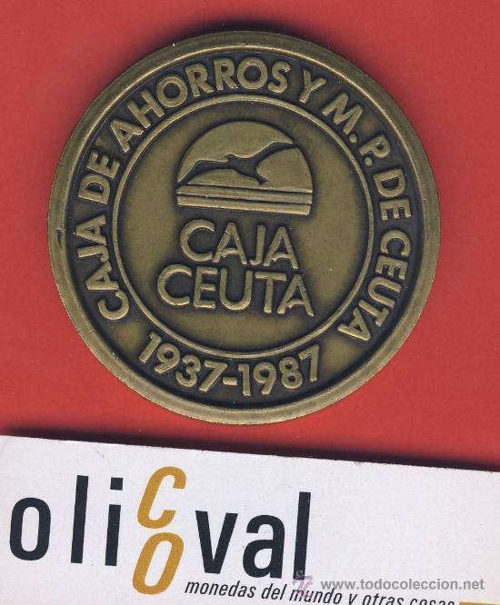 MEDALLA-CAJA DE AHORROS DE CEUTA-1937-1987 CINCUENTENARIO--60 MM.-105GR.ESTUCHE ORIGINAL (Numismática - Medallería - Trofeos y Conmemorativas)