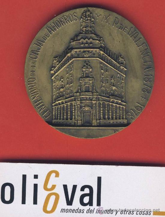 MEDALLA-CENTENARIO CAJA DE AHORROS DE VALENCIA-1878-1978-ESTUCHE ORIGINAL - (Numismática - Medallería - Trofeos y Conmemorativas)