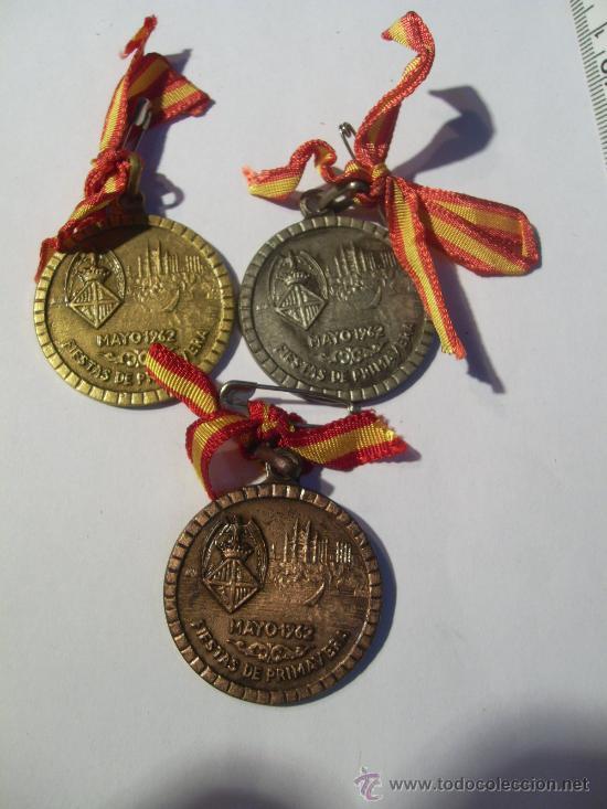 PALMA DE MALLORCA. FIESTAS DE PRIMAVERA. 1962. CICLISMO PISTA. MEDALLA DE ORO, PLATA Y BRONCE. (Numismática - Medallería - Trofeos y Conmemorativas)