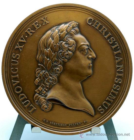 MEDALLA BRONCE DORADO FRANCIA LUDOVICUS XV 1770 VISITA DEL REY A LA CASA DE LA MONEDA (Numismática - Medallería - Trofeos y Conmemorativas)