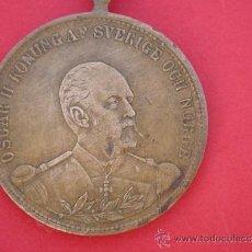 Trofeos y medallas: MEDALLA CONMEMORATIVA EN BRONCE -OSCAR II KONUNG AF SVERIGE OCH NORGE-. 2,85 CMS DIÁMETRO.. Lote 30685319