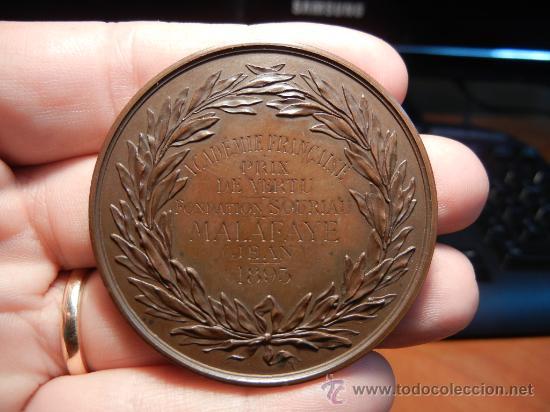 Trofeos y medallas: Medalla Francesa. Premio de la Academia Francesa. 1893. - Foto 2 - 33209083